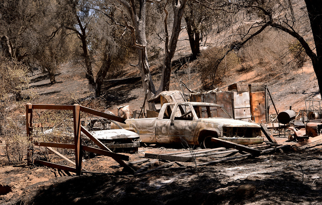 . A view of residence that was burned to the ground by the Silver Fire as seen near Twin Pines Road in the mountains south of Banning August 10, 2013.   GABRIEL LUIS ACOSTA/STAFF PHOTOTGRAPHER.