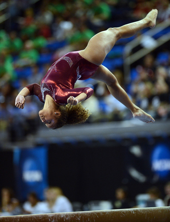 . Alabama\'s Diandra Milliner on the balance beam during the NCAA 2013 Gymnastics Championships at UCLA\'s Pauley Pavilion Friday, April 19, 2013. (Hans Gutknecht/Staff Photographer)