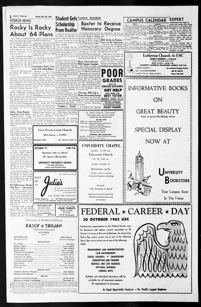 Daily Trojan, Vol. 55, No. 25, October 25, 1963