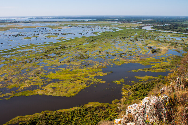 Pantanal as seen from caracara hill, Amolar mountains, matogrossense national park, Pantanal, Brazil.