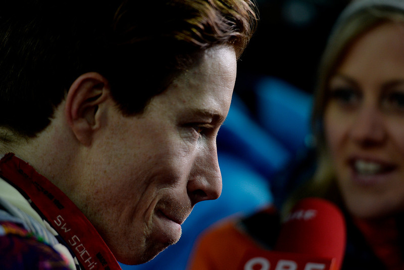. Two-time defending gold medalist Shaun White reacts to finishing fourth -- Switzerland\'s Iouri Podladchikov won the event -- after the men\'s snowboard halfpipe final. Sochi 2014 Winter Olympics on Tuesday, February 11, 2014. (Photo by AAron Ontiveroz/The Denver Post)