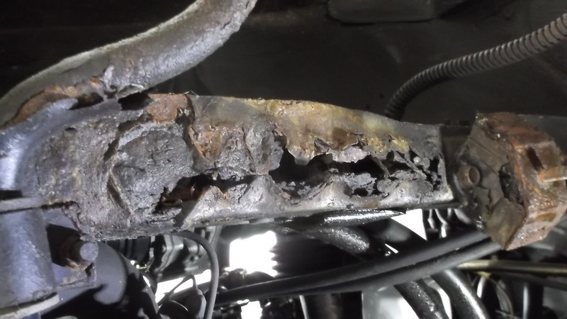 Severe rust in left front chassis member where front suspension was