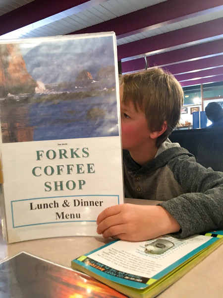 Escaped pouring rain to get lunch at a diner in Forks