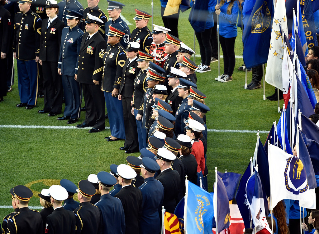 """. SANTA CLARA, CA - FEBRUARY 7: Military singers sing \""""God Bless America\"""" prior to the start of the game.  The Denver Broncos played the Carolina Panthers in Super Bowl 50 at Levi\'s Stadium in Santa Clara, Calif. on February 7, 2016. (Photo by Helen H. Richardson/The Denver Post)"""
