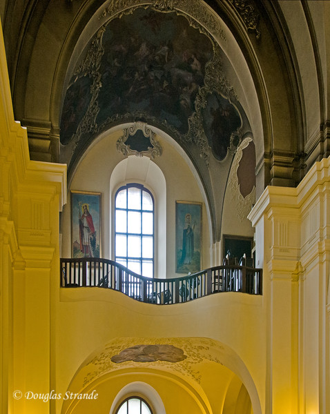 """Balcony of the Cyril and Methodius Church, where the assassins of Reinhard """"The Butcher"""" Heydrich hid and fought a gun battle with the Nazi's"""