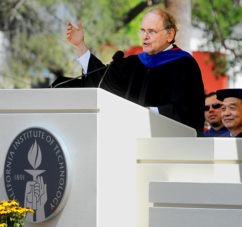 . Caltech Commencement Speaker Daniel H. Yergin, Ph.D, Pulizer Prise-winning author and leading energy scholar speaking at the 120th Annual Commencement at California Institute of Technology Friday, June 13, 2014.(Photo by Walt Mancini/Pasadena Star-News)