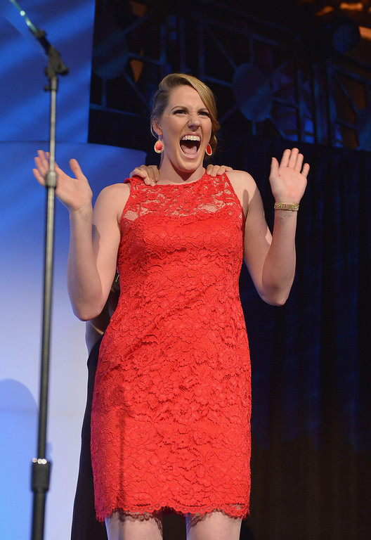 . NEW YORK, NY - OCTOBER 16:  Olympic gold medalist Missy Franklin onstage during the 34th annual Salute to Women In Sports Awards at Cipriani, Wall Street on October 16, 2013 in New York City.  (Photo by Mike Coppola/Getty Images for the Women\'s Sports Foundation)