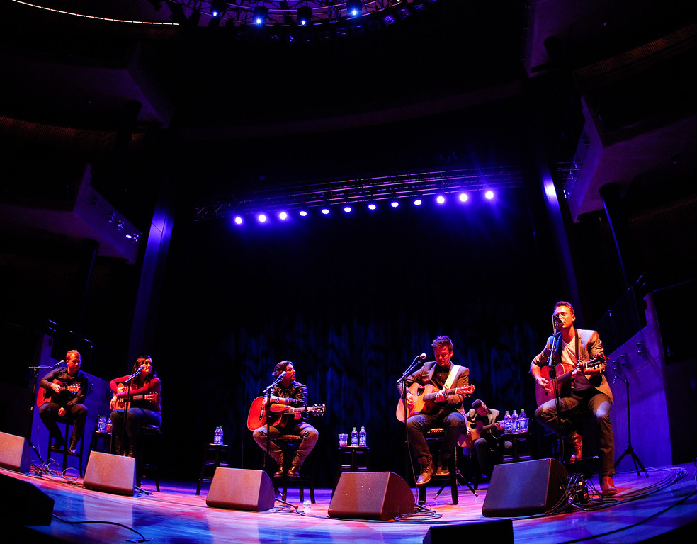 . NASHVILLE, TN - NOVEMBER 05:  Stephen Barker Liles (2nd R) and Eric Gunderson (R) of Love and Theft perform with Shane McAnally, Brandy Clark and Brett James during the 2013 CMA Songwriters Series at the CMA Theater on November 5, 2013 in Nashville, Tennessee.  (Photo by Terry Wyatt/Getty Images)
