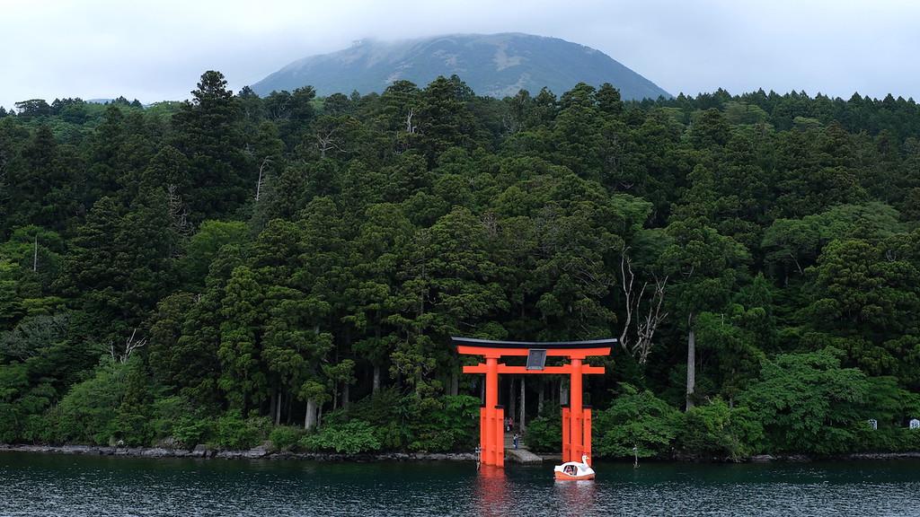 The Peace Shrine Gate viewed from the pirate ship crossing Lake Ashinoko.