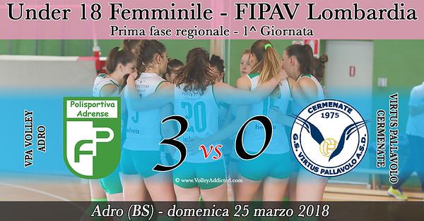 LOM-U18f-1fase: VPA Volley Adro - Virtus Cermenate