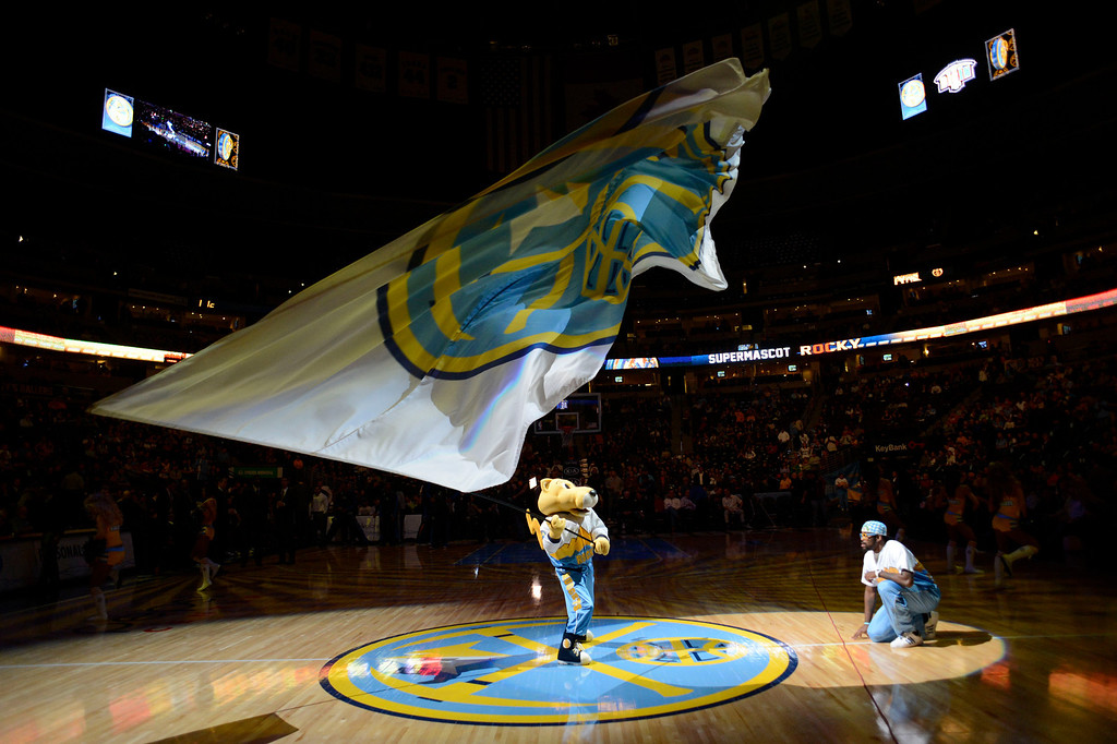 . Denver Nuggets mascot Rocky pumps up the crowd during introductions against the Orlando Magic Wednesday, January 9, 2013 at Pepsi Center. John Leyba, The Denver Post