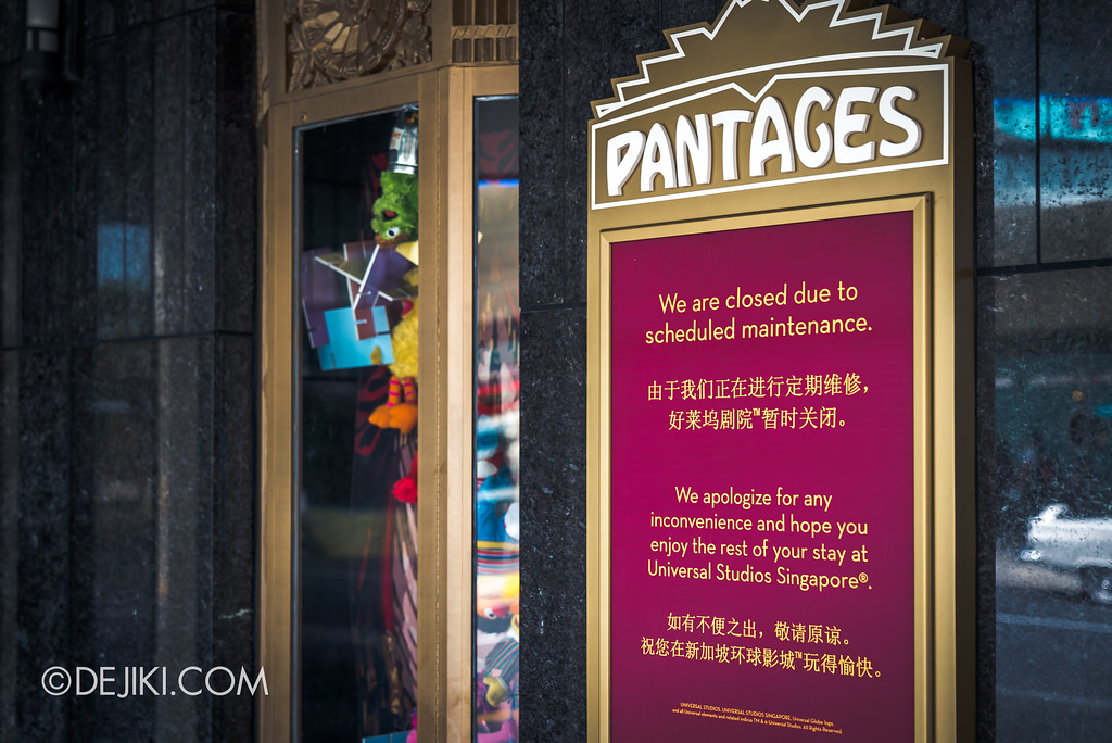 Universal Studios Singapore Park Update August 2017 - Pantages Hollywood Theatre closed