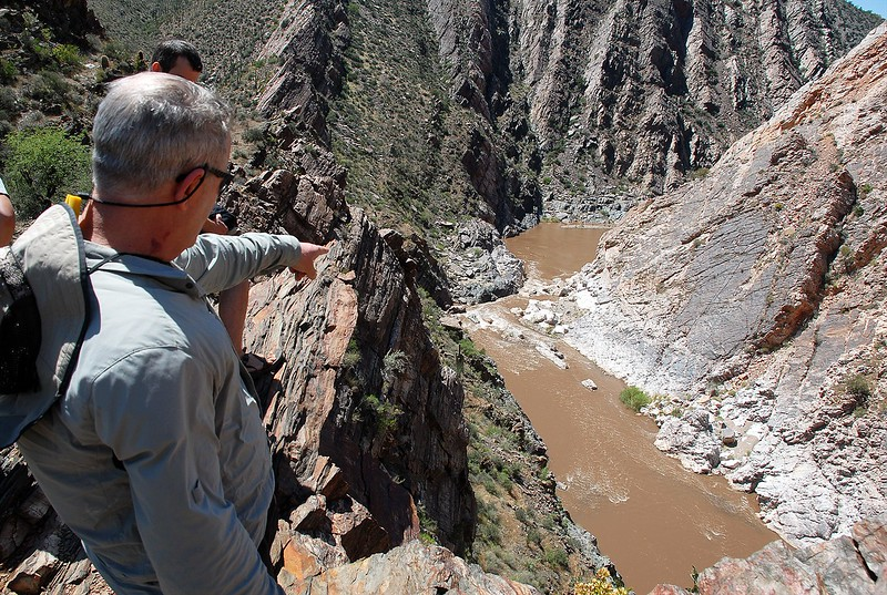 Chris points toward Quartzite Falls
