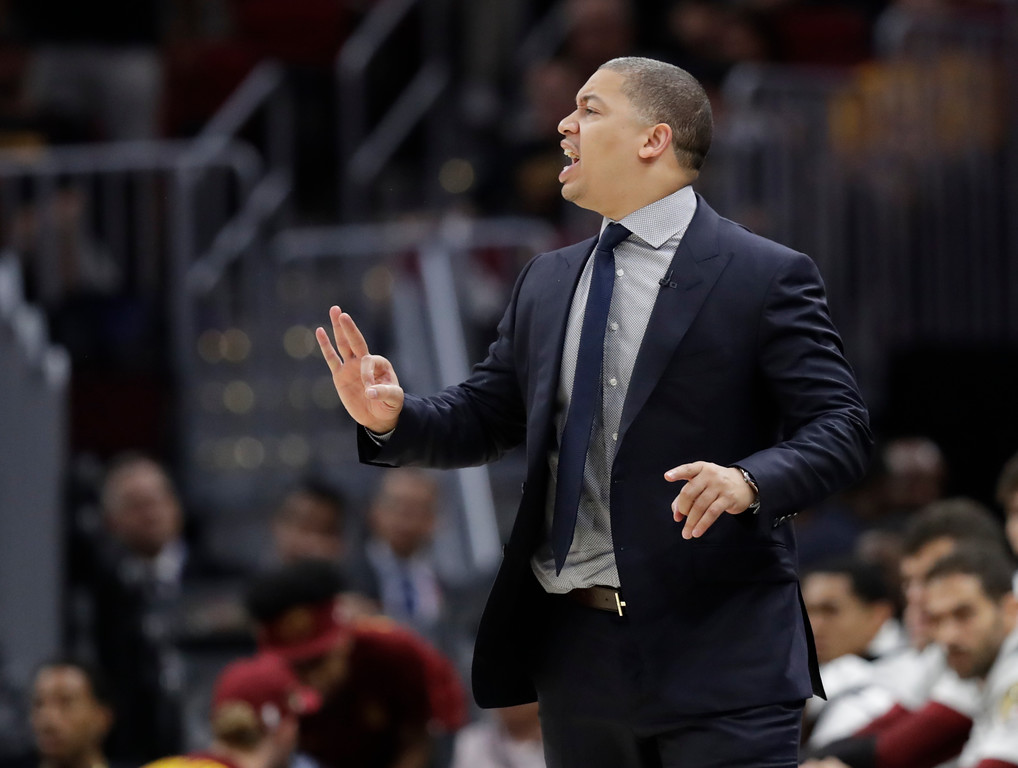 . Cleveland Cavaliers head coach Tyronn Lue calls a play in the second half of Game 4 of basketball\'s NBA Finals against the Golden State Warriors, Friday, June 8, 2018, in Cleveland. (AP Photo/Tony Dejak)