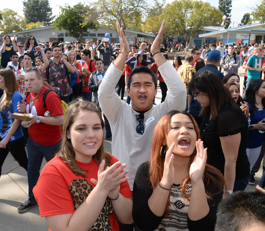 . Students cheer as football and girls soccer players appear during National Signing Day at La Mirada High School on Wednesday February 5, 2014. (Staff Photo by Keith Durflinger/Whittier Daily News)