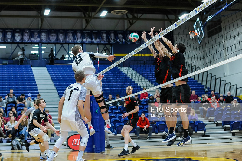 TORONTO, CANADA - Feb 21: during OCAA Volleyball Provincial Championship game 2 between NO. 1 FANSHAWE FALCONS MEN'S VOLLEYBALL VS CONESTOGA CONDORS at Humber Hawks Athletics Center. Photo: Michael Fayehun/F10 Sports Photography