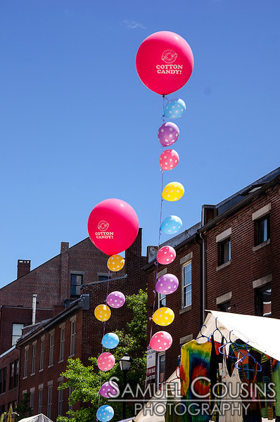 Balloons in front of Old Port Candy at the Old Port Festival.