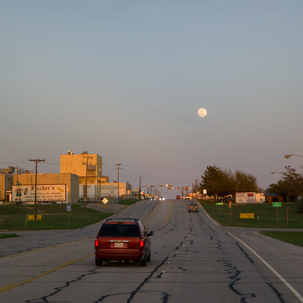 Muenster, TX Moon At Sunset