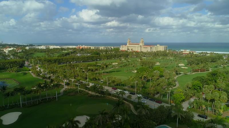 Aerial establishing shot Breakers Palm Beach Florida