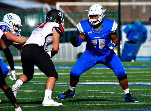 11/9/2019 Mike Orazzi | StaffrCCSU's Trevon Lincoln (76) Saturday against Saint Francis in New Britain.