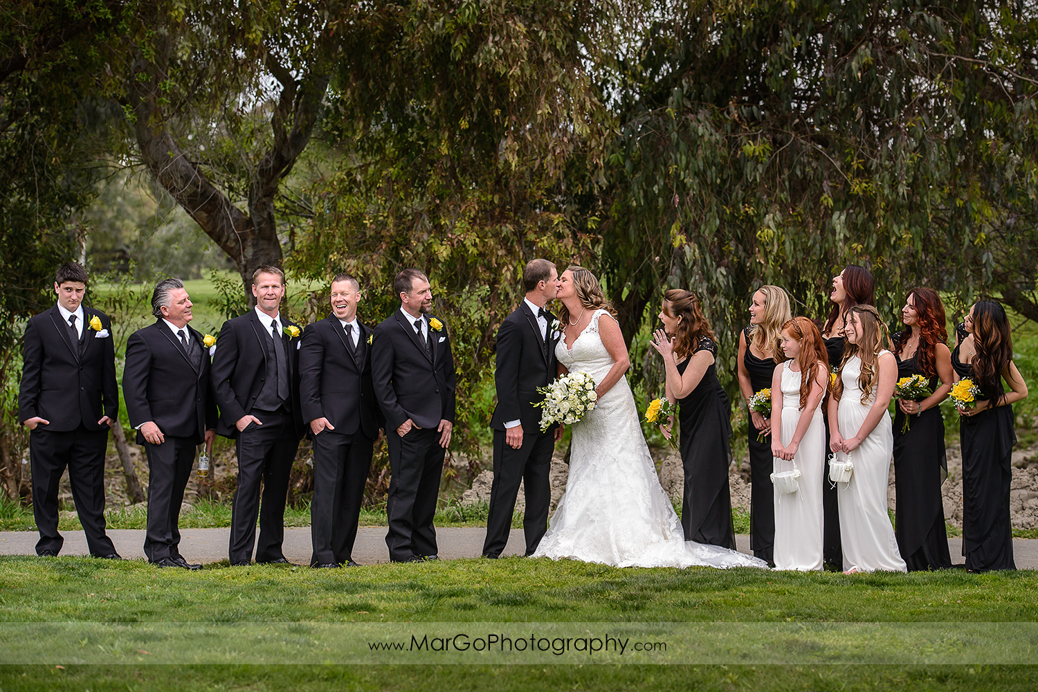 bridal party at Las Positas Golf Course in Livermore