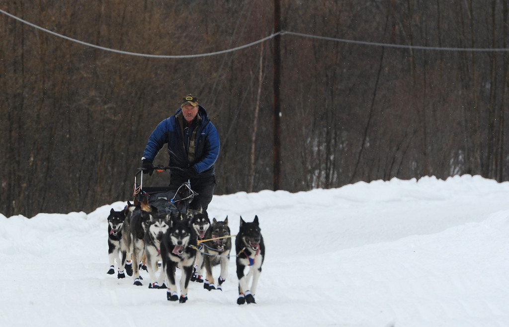 . Musher Sonny Lindner arrives at the Iditarod checkpoint in Anvik, Alaska on Friday, March 8, 2013,  during the Iditarod Trail Sled Dog Race. (AP Photo/Anchorage Daily News, Bill Roth)