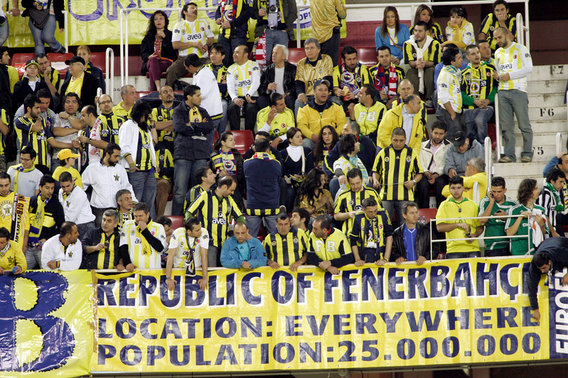 Fenerbahce fans. UEFA Champions League first knockout round game (second leg) between Sevilla FC (Seville, Spain) and Fenerbahce (Istambul, Turkey), Sanchez Pizjuan stadium, Seville, Spain, 04 March 2008.
