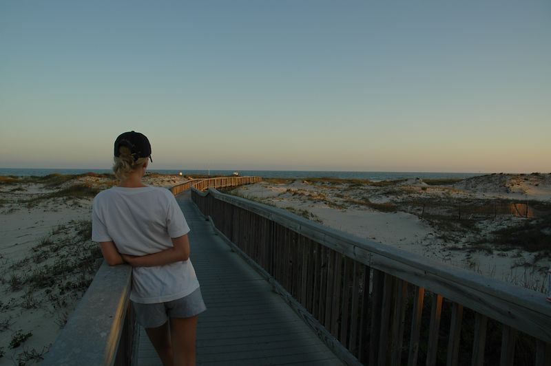 Kate looking down the boardwalk.