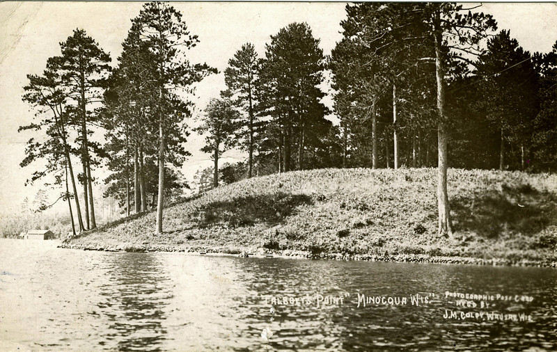 Postcard from Leslie to his parents from Minocqua, WI showing Talbott's Point