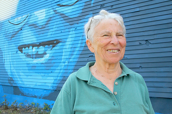 Marion Stoddard visits the Mural for her in Fitchburg