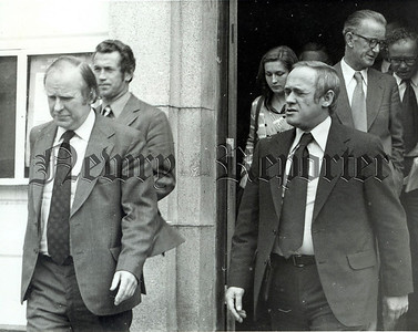 Mr Stanley Orme MP leaves Warrenpoint Town Hall after Wednesday's meeting with local reps