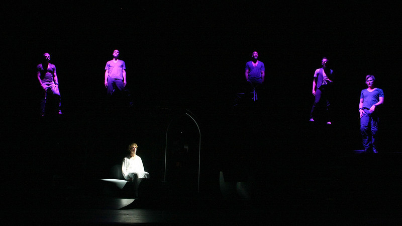 """HOLLYWOOD, CA - JUNE 17: Cast member actor Aleks Pevec performs as Tommy and is surounded by the ensemble cast during the dress rehearsal of The Who's """"Tommy"""" held at the Richardo Montalban Theatre on June 17, 2008 in Hollywood, California.  (Photo by Ryan Miller/Capture Imaging)"""