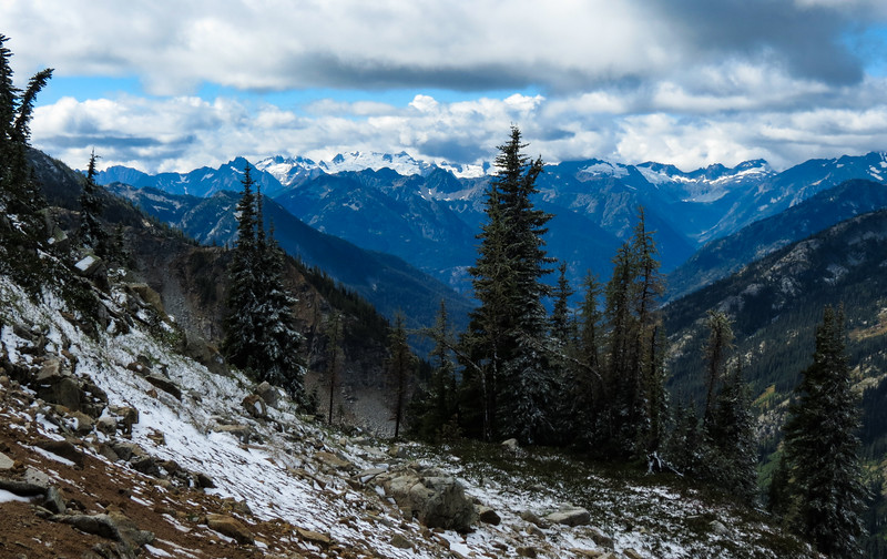 From the pass, there are great views to the west, toward Goode and Wyeth Glaciers.