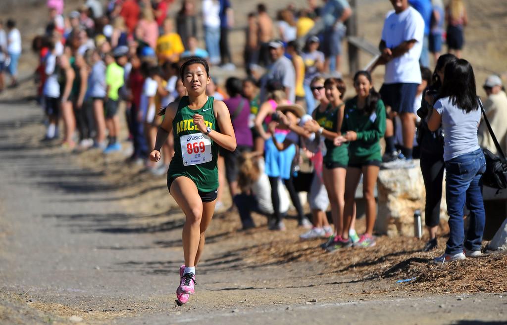 . Peninsula High hosted a Bay League cross country meet in Palos Verdes Estates, CA on Thursday, September 26, 2013.  Mira Costa\'s Abby Hong wins the girls varsity race. (Photo by Scott Varley, Daily Breeze)