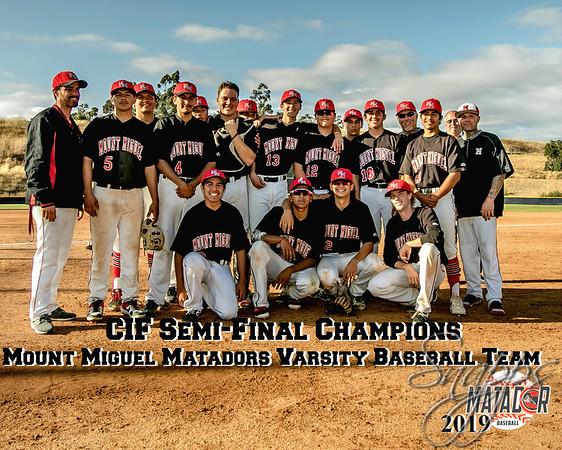 Mount Miguel Matadors Varsity Baseball Team CIF Semi Playoffs