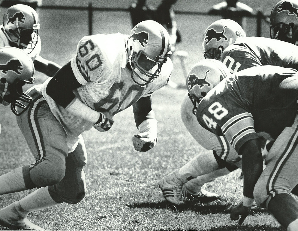 . Former Lions player Reggie Rogers practices with the team in July 1987. Oakland Press file photo