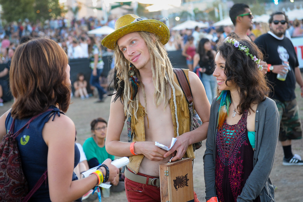 . Enjoying the afternoon at FYF Fest in downtown L.A., Saturday, August 24, 2013. (Michael Owen Baker/L.A. Daily News)
