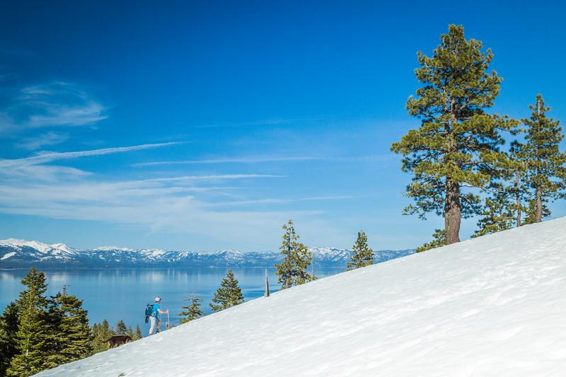 Spring hiking to Eagle Rock Lake Tahoe