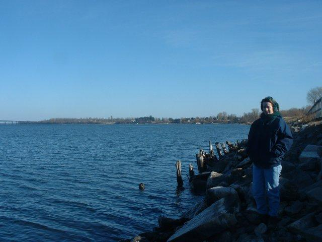 Ellen on the bank of the St. Lawrence