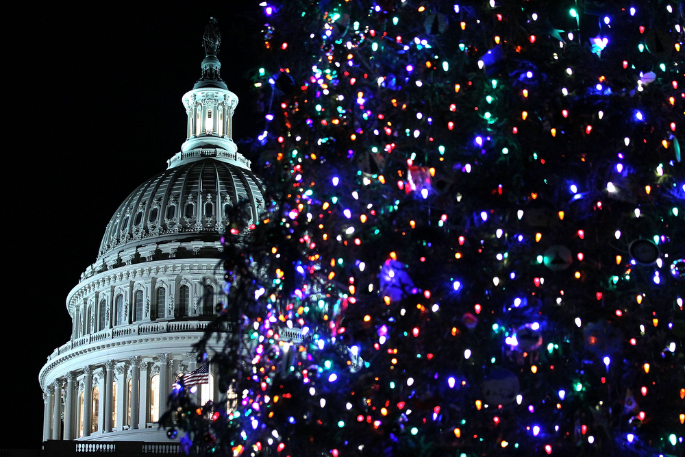 . WASHINGTON, DC - DECEMBER 04:  The 2012 Capitol Christmas Tree is seen after U.S. Speaker of the House Rep. John Boehner (R-OH) lit it up with Ryan Shuster, a senior at Discovery Canyon Campus in Colorado Spring, Colorado, December 4, 2012 at the West Front Lawn of the U.S. Capitol in Washington, DC. The year\'s tree is a 65-foot Engelmann spruce from the Blanco Ranger District of the White River National Forest in Colorado.  (Photo by Alex Wong/Getty Images)