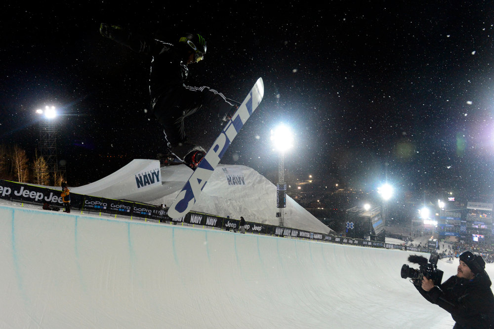 Description of . ASPEN, CO. - JANUARY 24:  Nathan Johnstone gets air during the Men's snowboard SuperPipe practice at the 2013 Aspen X Games on Buttermilk Mountain on January 24, 2013. (Photo By Mahala Gaylord / The Denver Post)