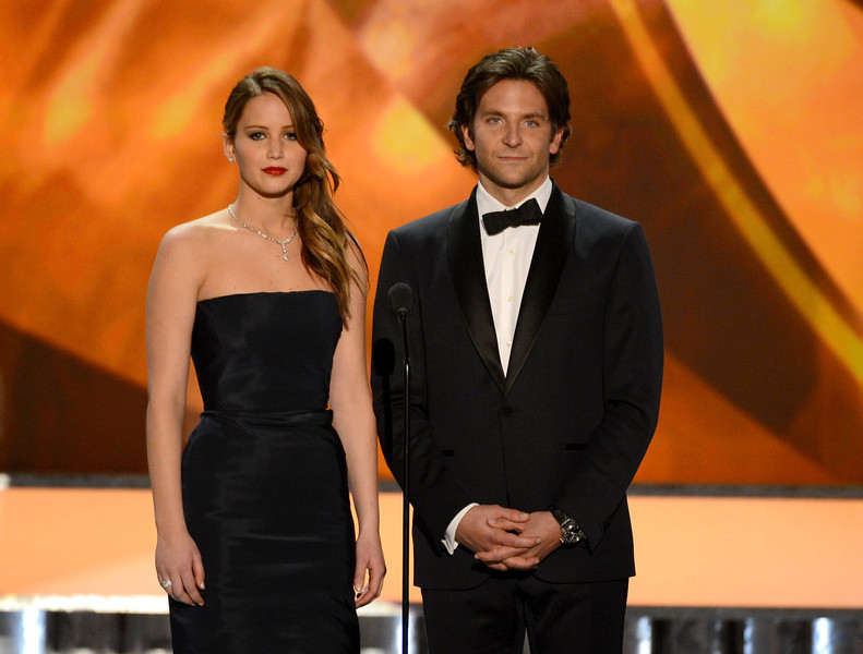 . LOS ANGELES, CA - JANUARY 27:  Actors Jennifer Lawrence (L) and Bradley Cooper onstage during the 19th Annual Screen Actors Guild Awards held at The Shrine Auditorium on January 27, 2013 in Los Angeles, California.  (Photo by Mark Davis/Getty Images)