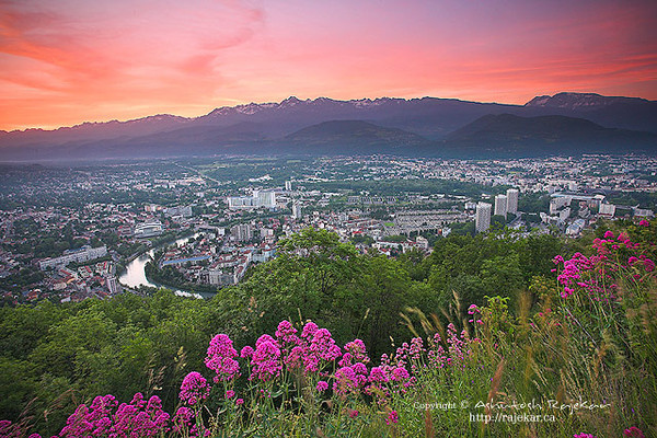 La Bastille overlooking the Alps, Parc National des Écrins and Grenoble