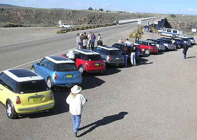 The tour began at the Taos (NM) Gorge Bridge Sept 25 in the morning. Forteen MINIs and one classic Mini are ready to motor.