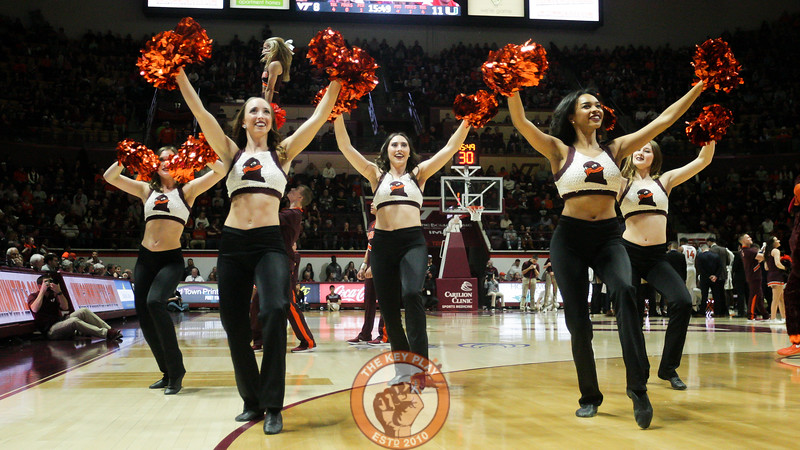 The Virginia Tech High Techs perform for the crowd during a timeout in the first half. (Mark Umansky/TheKeyPlay.com)