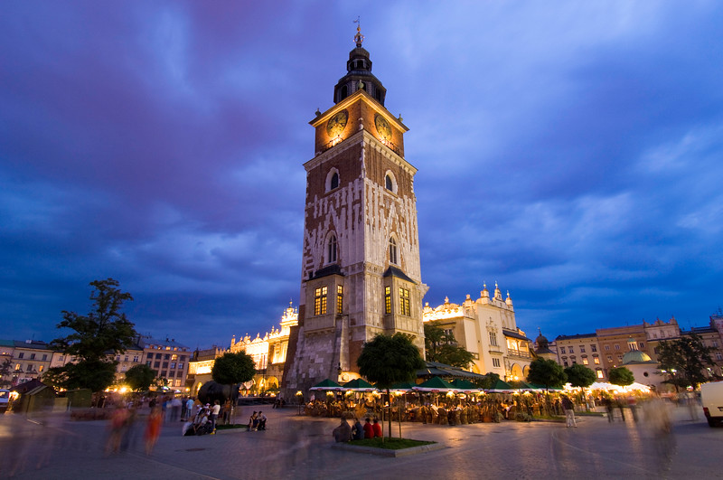 Poland, Cracow, Rynek Glowny by night, Old Town Hall tower