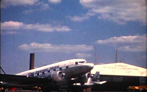 . A Detroit News airplane at the airport in 1960