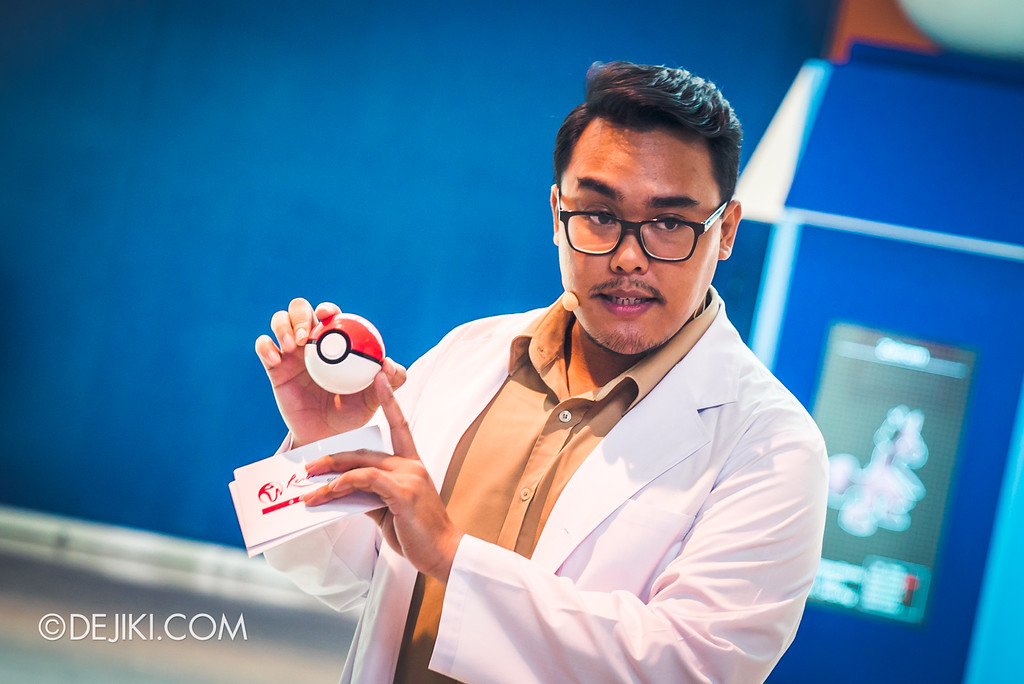 Pokémon Research Exhibition Launch -  Professor explaining how the Poke Balls work