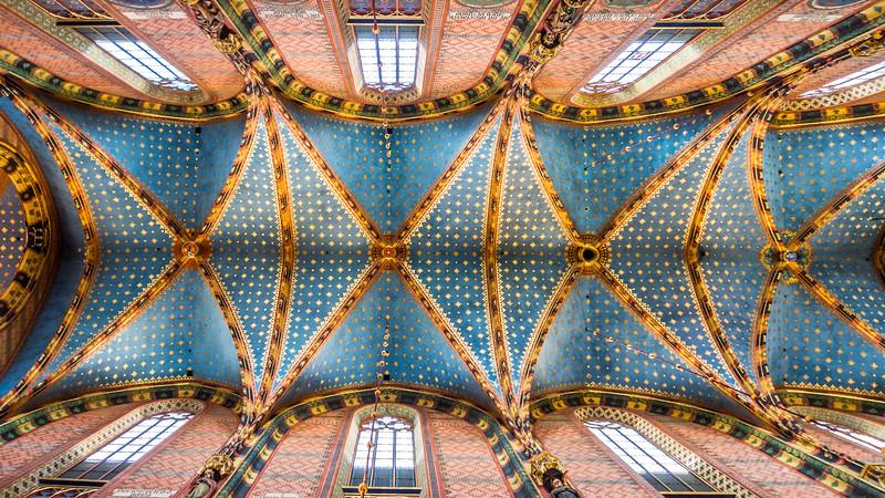 Ceiling of St Mary's Basilica, Kraków, Poland
