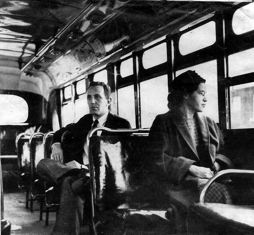 . Rosa Parks rides on the Montgomery Area Transit System bus. Parks, whose refusal to give up her bus seat to a white man sparked the modern civil rights movement, died Monday Oct. 24, 2005. She was 92. (AP Photo/Montgomery Advertiser)